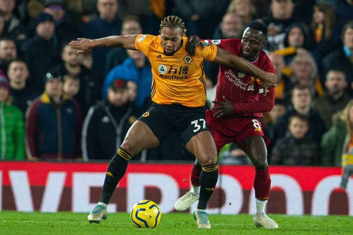 Liverpool's Sadio Mané (R) and Wolverhampton Wanderers' Adama Traoré during the FA Premier League match between Liverpool FC and Wolverhampton Wanderers FC at Anfield. (Pic by David Rawcliffe/Propaganda)