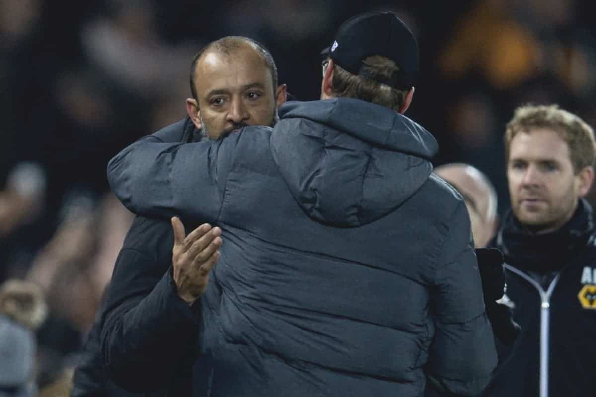 LIVERPOOL, ENGLAND - Sunday, December 29, 2019: Wolverhampton Wanderers' manager Nuno Espírito Santo embraces Liverpool's manager Jürgen Klopp after the FA Premier League match between Liverpool FC and Wolverhampton Wanderers FC at Anfield. Liverpool won 1-0. (Pic by David Rawcliffe/Propaganda)