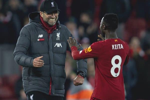LIVERPOOL, ENGLAND - Sunday, December 29, 2019: Liverpool's manager Jürgen Klopp celebrates with Naby Keita after the FA Premier League match between Liverpool FC and Wolverhampton Wanderers FC at Anfield. Liverpool won 1-0. (Pic by David Rawcliffe/Propaganda)