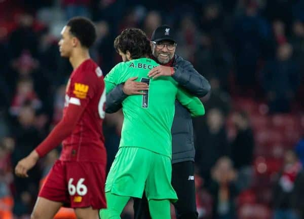 LIVERPOOL, ENGLAND - Sunday, December 29, 2019: Liverpool's manager Jürgen Klopp celebrates with goalkeeper Alisson Becker after the FA Premier League match between Liverpool FC and Wolverhampton Wanderers FC at Anfield. Liverpool won 1-0. (Pic by David Rawcliffe/Propaganda)