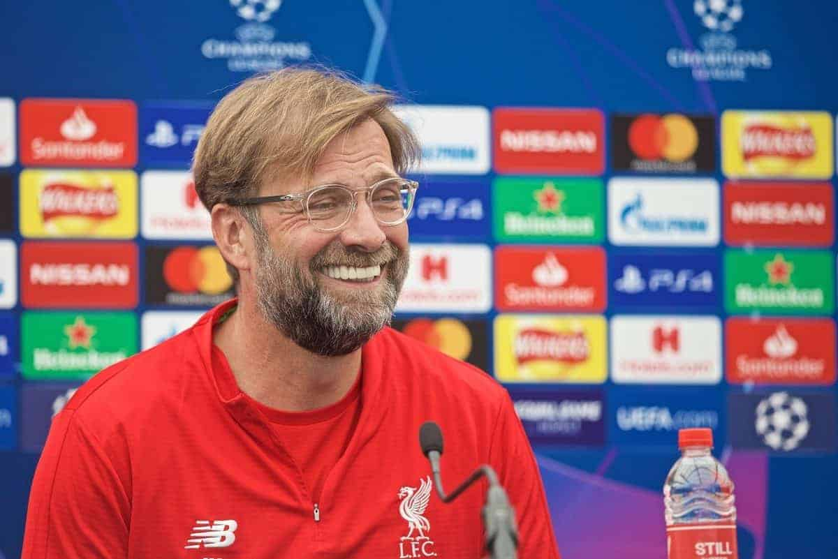 LIVERPOOL, ENGLAND - Tuesday, May 28, 2019: Liverpool's manager Jürgen Klopp during a press conference at Melwood Training Ground ahead of the UEFA Champions League Final match between Tottenham Hotspur FC and Liverpool FC. (Pic by David Rawcliffe/Propaganda)