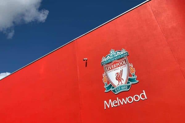 LIVERPOOL, ENGLAND - Tuesday, May 28, 2019: Liverpool's club crest on the wall at Melwood Training Ground ahead of the UEFA Champions League Final match between Tottenham Hotspur FC and Liverpool FC. (Pic by David Rawcliffe/Propaganda)