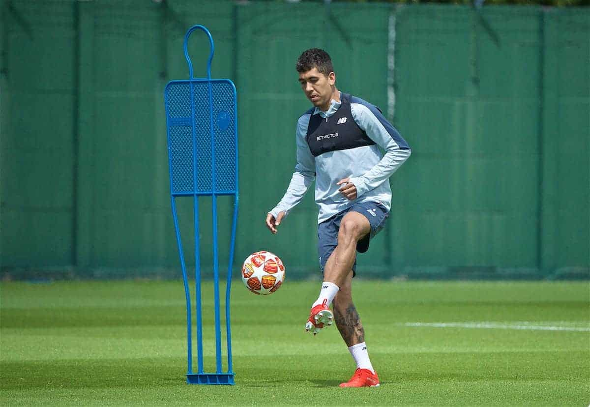 LIVERPOOL, ENGLAND - Tuesday, May 28, 2019: Liverpool's Roberto Firmino during a training session at Melwood Training Ground ahead of the UEFA Champions League Final match between Tottenham Hotspur FC and Liverpool FC. (Pic by David Rawcliffe/Propaganda)
