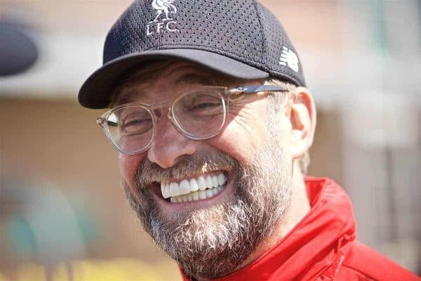 LIVERPOOL, ENGLAND - Tuesday, May 28, 2019: Liverpool's manager Jürgen Klopp speaks to journalists in the mixed zone after a training session at Melwood Training Ground ahead of the UEFA Champions League Final match between Tottenham Hotspur FC and Liverpool FC. (Pic by David Rawcliffe/Propaganda)