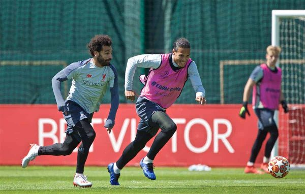 LIVERPOOL, ENGLAND - Tuesday, May 28, 2019: Liverpool's Virgil van Dijk (R) and Mohamed Salah during a training session at Melwood Training Ground ahead of the UEFA Champions League Final match between Tottenham Hotspur FC and Liverpool FC. (Pic by David Rawcliffe/Propaganda)
