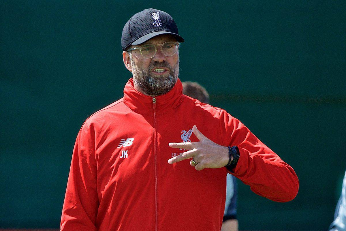LIVERPOOL, ENGLAND - Tuesday, May 28, 2019: Liverpool's manager Jürgen Klopp during a training session at Melwood Training Ground ahead of the UEFA Champions League Final match between Tottenham Hotspur FC and Liverpool FC. (Pic by David Rawcliffe/Propaganda)