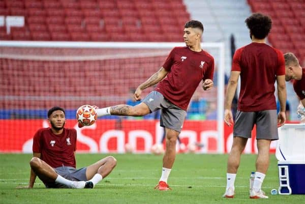 MADRID, SPAIN - Friday, May 31, 2019: Liverpool's Roberto Firmino during a training session ahead of the UEFA Champions League Final match between Tottenham Hotspur FC and Liverpool FC at the Estadio Metropolitano. (Pic by David Rawcliffe/Propaganda)