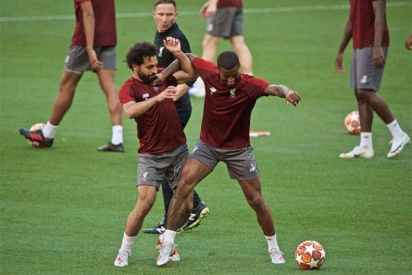 MADRID, SPAIN - Friday, May 31, 2019: Liverpool's Mohamed Salah (L) and Georginio Wijnaldum during a training session ahead of the UEFA Champions League Final match between Tottenham Hotspur FC and Liverpool FC at the Estadio Metropolitano. (Pic by David Rawcliffe/Propaganda)