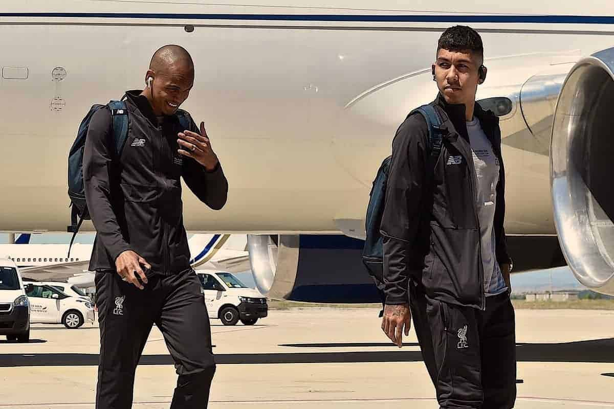 MADRID, SPAIN - Friday, May 31, 2019: Liverpool's Fabio Henrique Tavares 'Fabinho' (L) and Roberto Firmino arrive at Adolfo Suarez Madrid-Barajas Airport ahead of the UEFA Champions League Final match between Tottenham Hotspur FC and Liverpool FC at the Estadio Metropolitano. (Pic by Handout/UEFA)