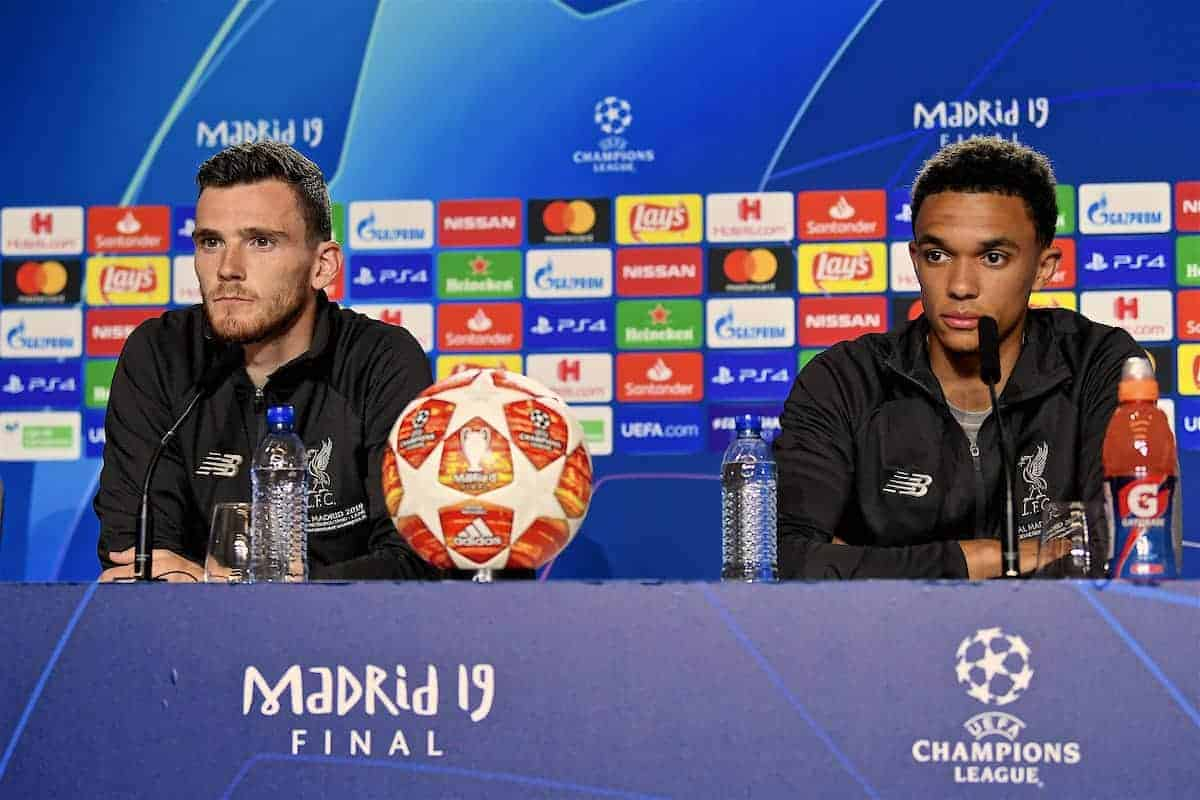 MADRID, SPAIN - Friday, May 31, 2019: Liverpool'sAndy Robertson (L) and Trent Alexander-Arnold during a press conference ahead of the UEFA Champions League Final match between Tottenham Hotspur FC and Liverpool FC at the Estadio Metropolitano. (Pic by Handout/UEFA)