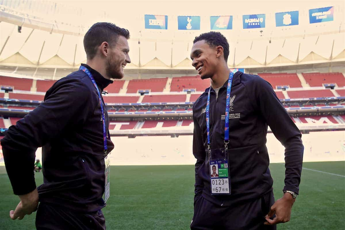 MADRID, SPAIN - Friday, May 31, 2019: Liverpool's Andy Robertson (L) and Trent Alexander-Arnold before a training session ahead of the UEFA Champions League Final match between Tottenham Hotspur FC and Liverpool FC at the Estadio Metropolitano. (Pic by Handout/UEFA)
