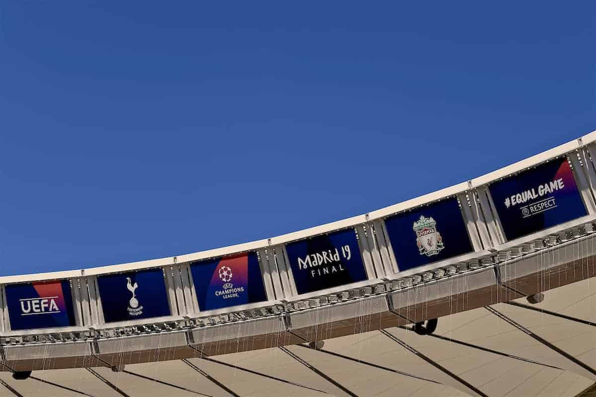 MADRID, SPAIN - Friday, May 31, 2019: A general; view of the roof of the Estadio Metropolitano during a training session ahead of the UEFA Champions League Final match between Tottenham Hotspur FC and Liverpool FC. (Pic by Handout/UEFA)