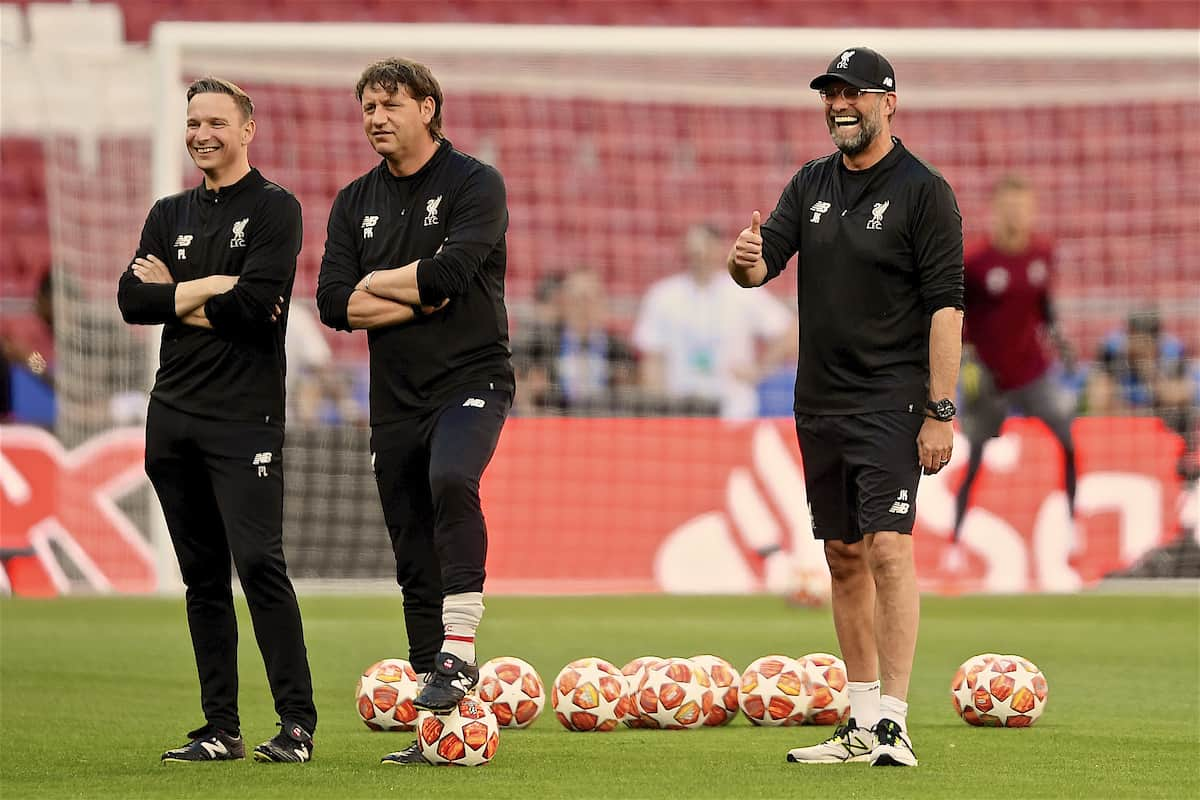 MADRID, SPAIN - Friday, May 31, 2019: Liverpool's manager Jürgen Klopp (R) with first-team development coach Pepijn Lijnders (L) and assistant manager Peter Krawietz (C) during a training session ahead of the UEFA Champions League Final match between Tottenham Hotspur FC and Liverpool FC at the Estadio Metropolitano. (Pic by Handout/UEFA)