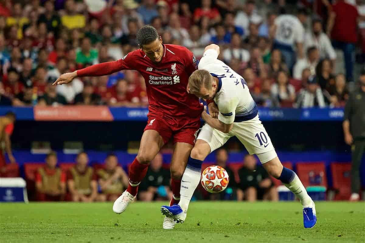MADRID, SPAIN - SATURDAY, JUNE 1, 2019: Liverpool's Virgil van Dijk (L) and Tottenham Hotspur's Harry Kane during the UEFA Champions League Final match between Tottenham Hotspur FC and Liverpool FC at the Estadio Metropolitano. (Pic by David Rawcliffe/Propaganda)