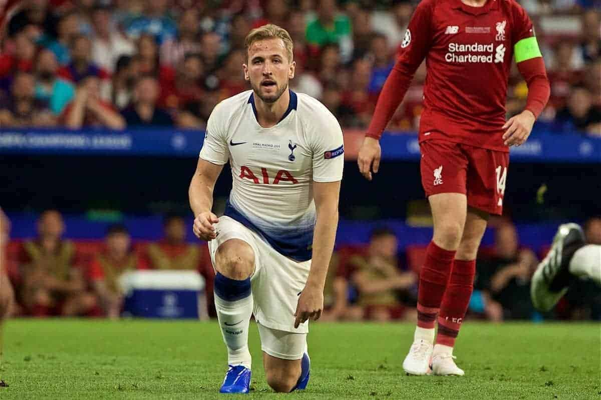 MADRID, SPAIN - SATURDAY, JUNE 1, 2019: Tottenham Hotspur's Harry Kane looks dejected during the UEFA Champions League Final match between Tottenham Hotspur FC and Liverpool FC at the Estadio Metropolitano. (Pic by David Rawcliffe/Propaganda)