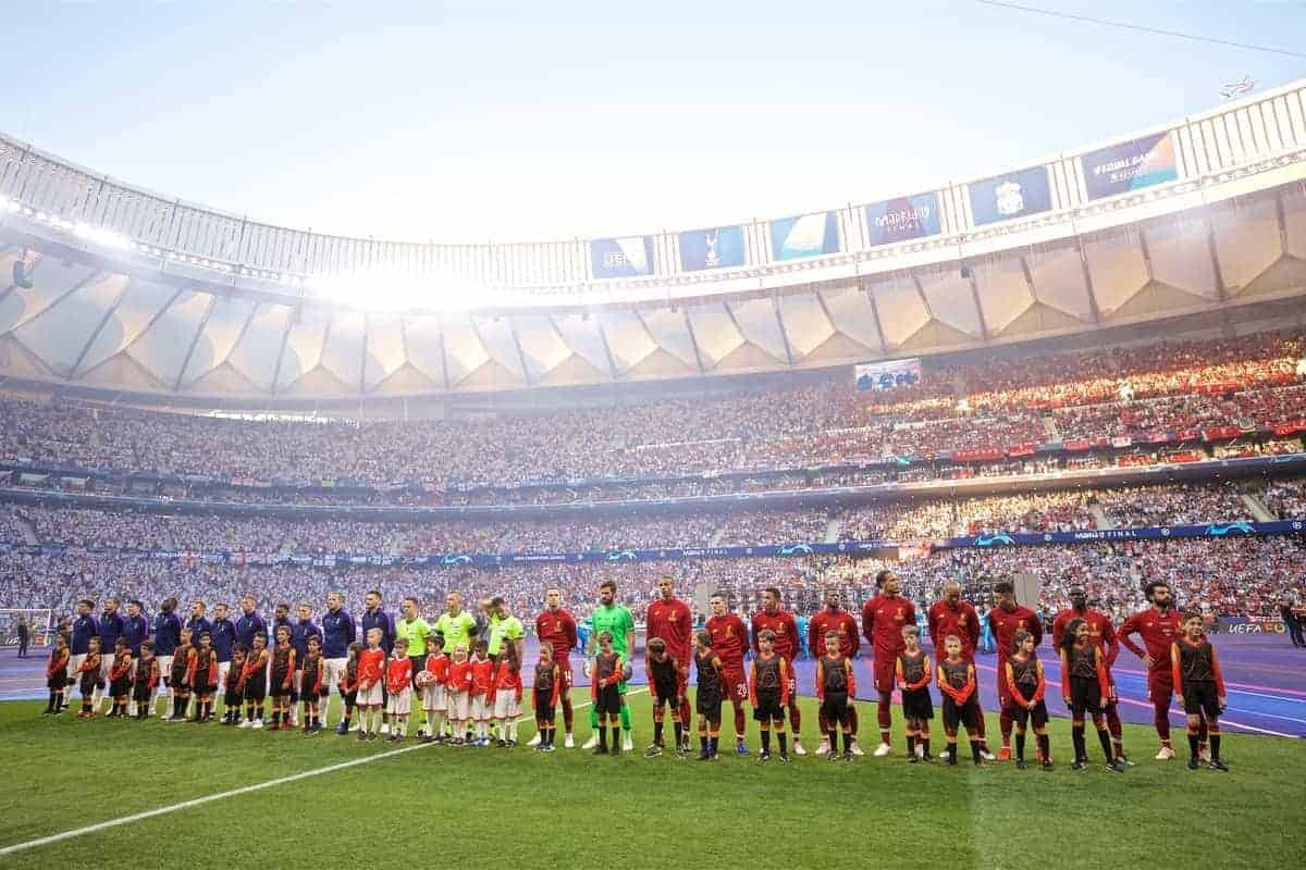 MADRID, SPAIN - SATURDAY, JUNE 1, 2019: Liverpool and Tottenham Hotspur players line up before the UEFA Champions League Final match between Tottenham Hotspur FC and Liverpool FC at the Estadio Metropolitano. (Pic by David Rawcliffe/Propaganda)