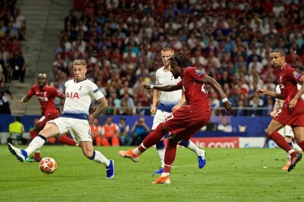 MADRID, SPAIN - SATURDAY, JUNE 1, 2019: Liverpool's Divock Origi scores the second goal during the UEFA Champions League Final match between Tottenham Hotspur FC and Liverpool FC at the Estadio Metropolitano. (Pic by David Rawcliffe/Propaganda)