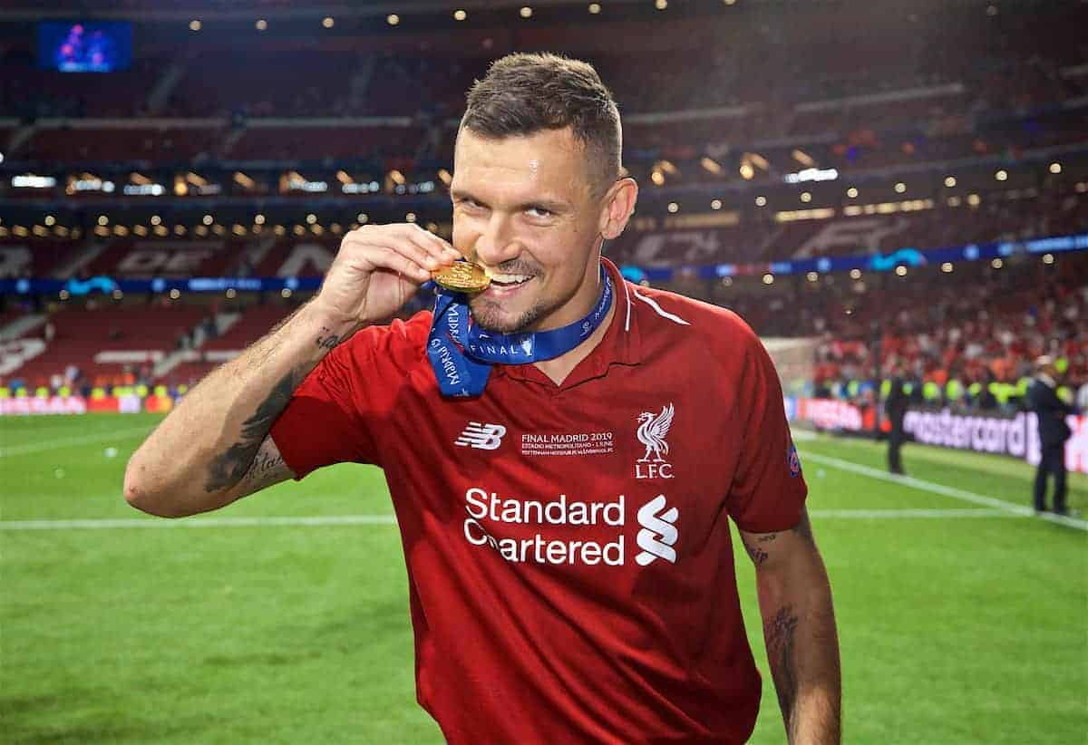MADRID, SPAIN - SATURDAY, JUNE 1, 2019: Liverpool's Dejan Lovren bites his medal after the UEFA Champions League Final match between Tottenham Hotspur FC and Liverpool FC at the Estadio Metropolitano. Liverpool won 2-0 to win their sixth European Cup. (Pic by David Rawcliffe/Propaganda)