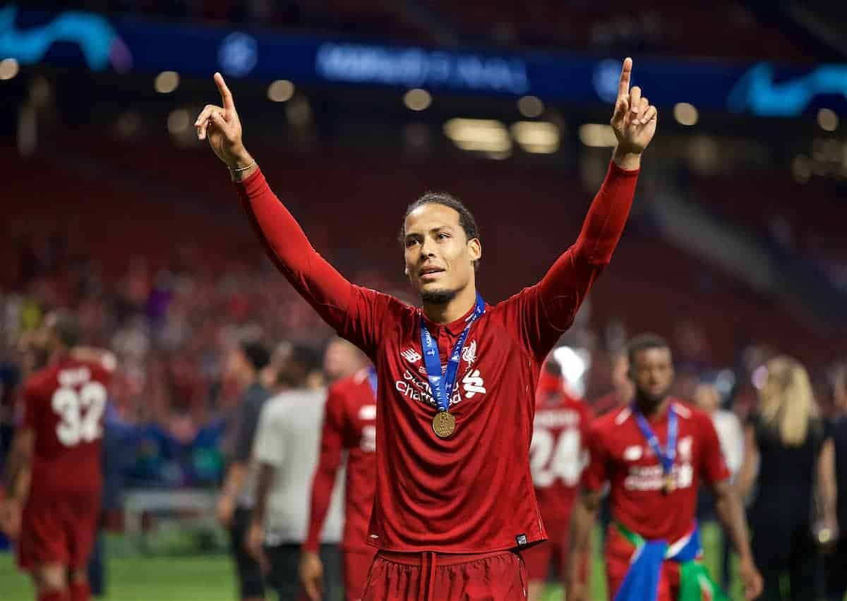 MADRID, SPAIN - SATURDAY, JUNE 1, 2019: Liverpool's Virgil van Dijk after the UEFA Champions League Final match between Tottenham Hotspur FC and Liverpool FC at the Estadio Metropolitano. Liverpool won 2-0 to win their sixth European Cup. (Pic by David Rawcliffe/Propaganda)
