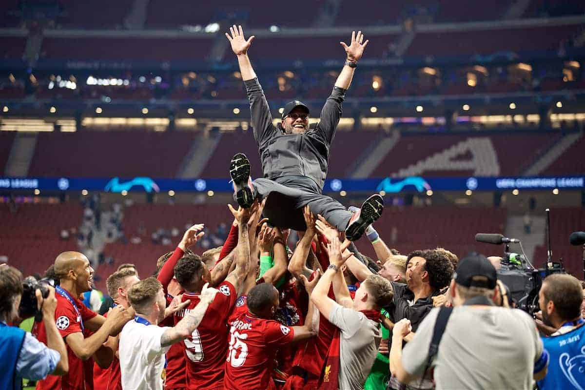 MADRID, SPAIN - SATURDAY, JUNE 1, 2019: Liverpool's manager Jürgen Klopp is thrown into the air by his team after the UEFA Champions League Final match between Tottenham Hotspur FC and Liverpool FC at the Estadio Metropolitano. Liverpool won 2-0 to win their sixth European Cup. (Pic by David Rawcliffe/Propaganda)