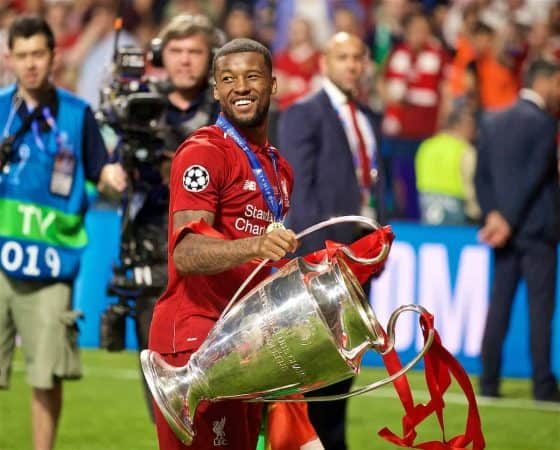MADRID, SPAIN - SATURDAY, JUNE 1, 2019: Liverpool's Georginio Wijnaldum with the trophy after the UEFA Champions League Final match between Tottenham Hotspur FC and Liverpool FC at the Estadio Metropolitano. Liverpool won 2-0 to win their sixth European Cup. (Pic by David Rawcliffe/Propaganda)