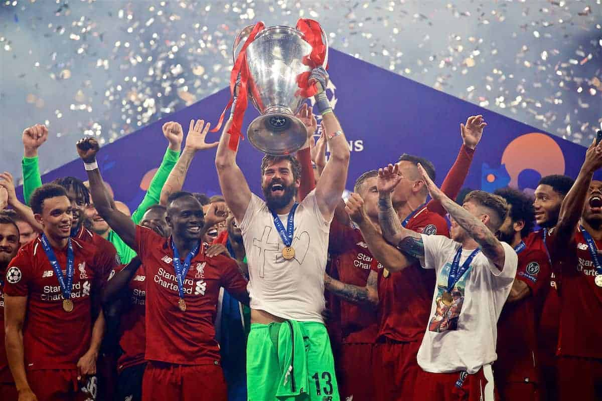 MADRID, SPAIN - SATURDAY, JUNE 1, 2019: Liverpool's goalkeeper Alisson Becker lifts the trophy after the UEFA Champions League Final match between Tottenham Hotspur FC and Liverpool FC at the Estadio Metropolitano. Liverpool won 2-0 to win their sixth European Cup. (Pic by David Rawcliffe/Propaganda)