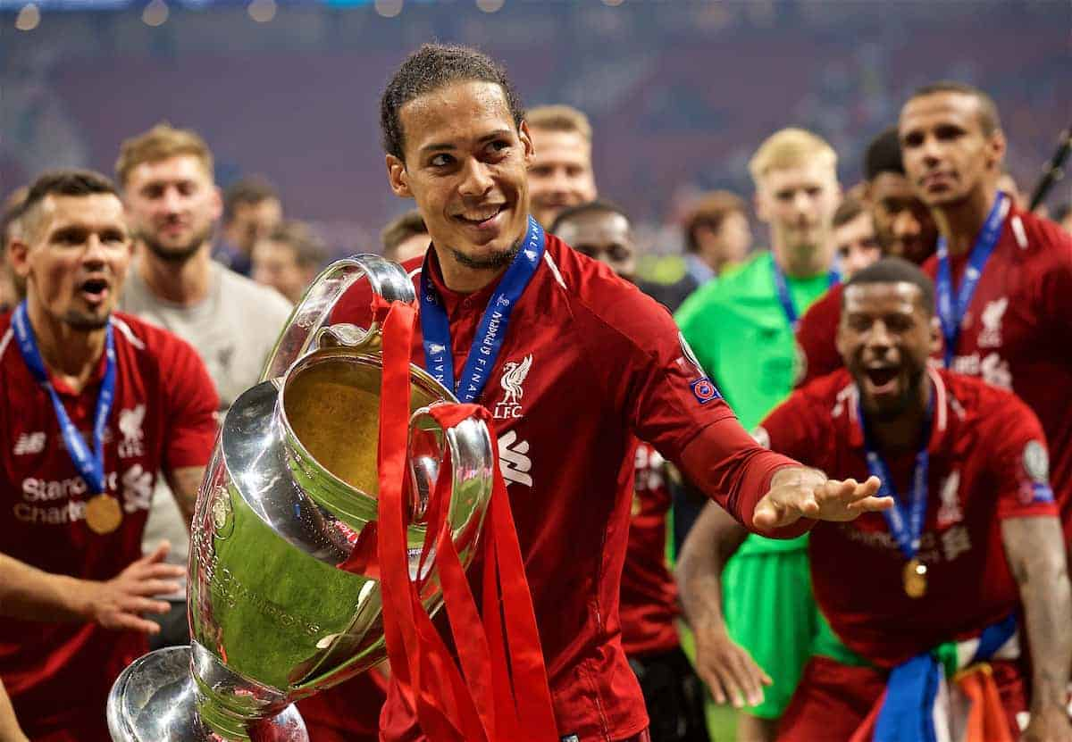 MADRID, SPAIN - SATURDAY, JUNE 1, 2019: Liverpool's Virgil van Dijk lifts the trophy after the UEFA Champions League Final match between Tottenham Hotspur FC and Liverpool FC at the Estadio Metropolitano. Liverpool won 2-0 to win their sixth European Cup. (Pic by David Rawcliffe/Propaganda)