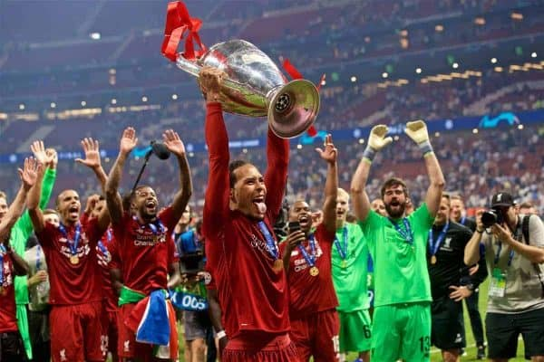 Liverpool's Virgil van Dijk lifts the trophy after the UEFA Champions League Final match between Tottenham Hotspur FC and Liverpool FC at the Estadio Metropolitano. Liverpool won 2-0 to win their sixth European Cup. (Pic by David Rawcliffe/Propaganda)