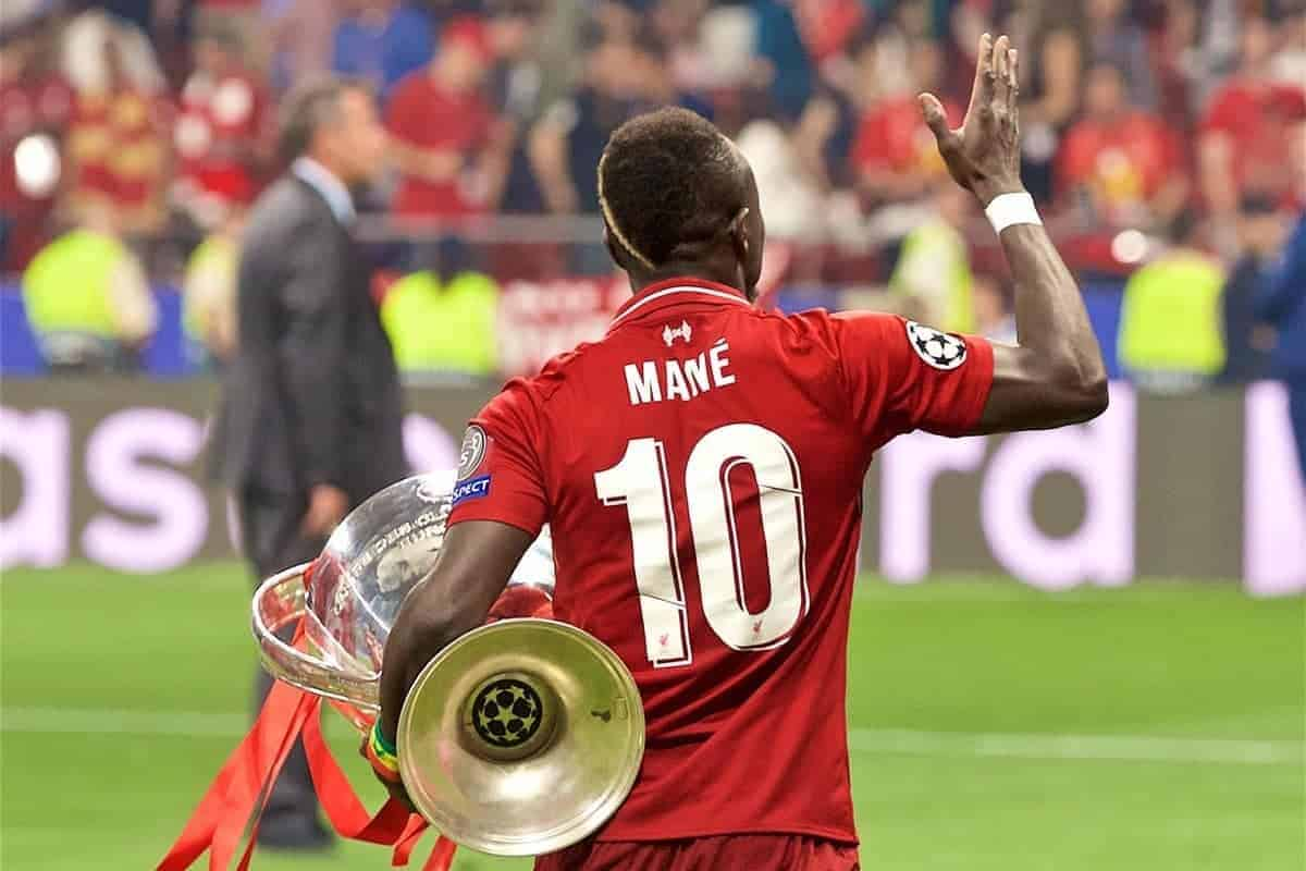 Liverpool's Sadio Mane with the trophy after the UEFA Champions League Final match between Tottenham Hotspur FC and Liverpool FC at the Estadio Metropolitano. Liverpool won 2-0 to win their sixth European Cup. (Pic by David Rawcliffe/Propaganda)