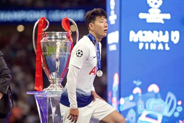 MADRID, SPAIN - SATURDAY, JUNE 1, 2019: Tottenham Hotspur's Son Heung-min walks past the trophy dejectedly after losing the UEFA Champions League Final match between Tottenham Hotspur FC and Liverpool FC at the Estadio Metropolitano. Liverpool won 2-0 tp win their sixth European Cup. (Pic by David Rawcliffe/Propaganda)