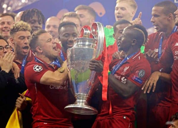 MADRID, SPAIN - SATURDAY, JUNE 1, 2019: Liverpool's Xherdan Shaqiri (L) and Sadio Mane (R) lift the trophy after the UEFA Champions League Final match between Tottenham Hotspur FC and Liverpool FC at the Estadio Metropolitano. Liverpool won 2-0 tp win their sixth European Cup. (Pic by David Rawcliffe/Propaganda)