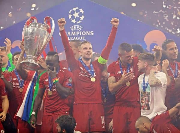 MADRID, SPAIN - SATURDAY, JUNE 1, 2019: Liverpool's captain Jordan Henderson celebrates after the UEFA Champions League Final match between Tottenham Hotspur FC and Liverpool FC at the Estadio Metropolitano. Liverpool won 2-0 tp win their sixth European Cup. (Pic by David Rawcliffe/Propaganda)
