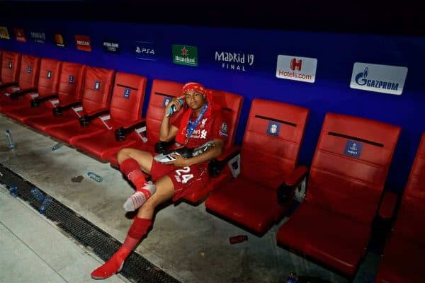 MADRID, SPAIN - SATURDAY, JUNE 1, 2019: Liverpool's Rhian Brewster after the UEFA Champions League Final match between Tottenham Hotspur FC and Liverpool FC at the Estadio Metropolitano. Liverpool won 2-0 to win their sixth European Cup. (Pic by David Rawcliffe/Propaganda)