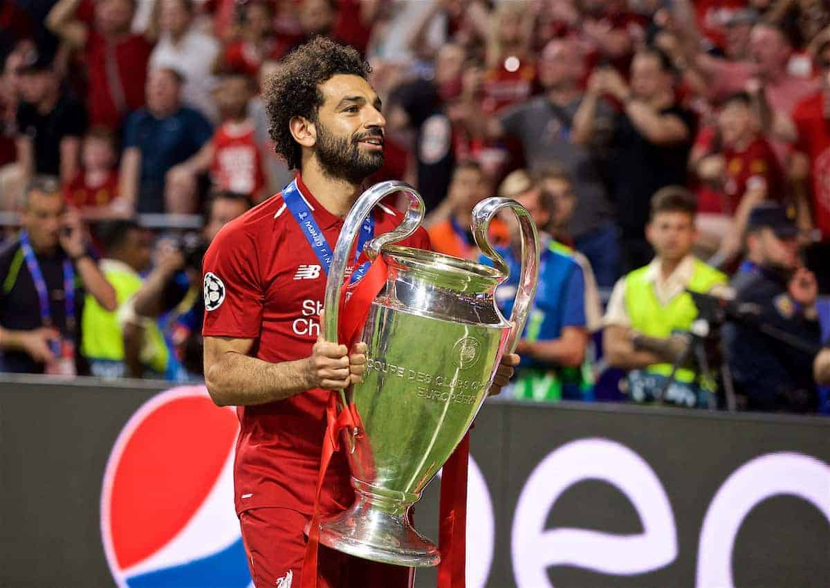 MADRID, SPAIN - SATURDAY, JUNE 1, 2019: Liverpool's Mohamed Salah with the trophy after the UEFA Champions League Final match between Tottenham Hotspur FC and Liverpool FC at the Estadio Metropolitano. Liverpool won 2-0 to win their sixth European Cup. (Pic by David Rawcliffe/Propaganda)
