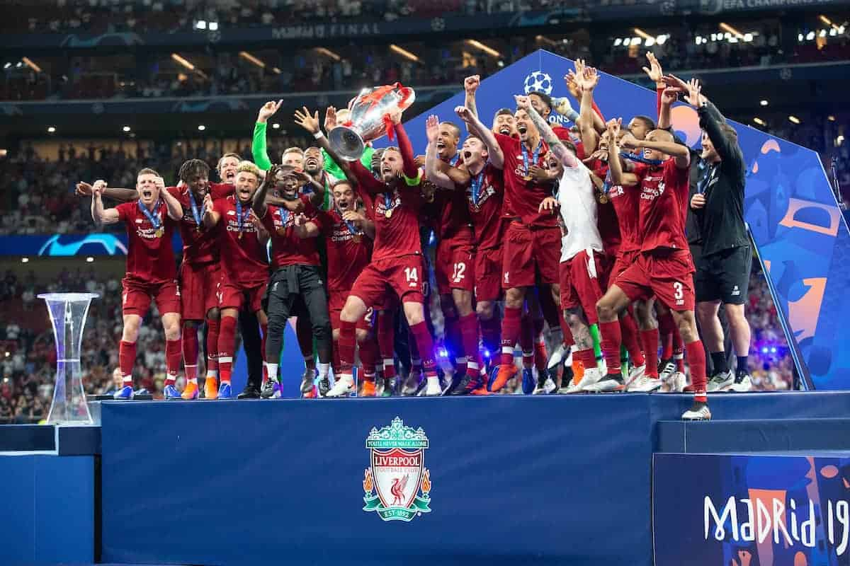 MADRID, SPAIN - SATURDAY, JUNE 1, 2019: Liverpool's captain Jordan Henderson lifts the trophy after the UEFA Champions League Final match between Tottenham Hotspur FC and Liverpool FC at the Estadio Metropolitano. Liverpool won 2-0 to win their sixth European Cup. (Pic by Peter Makadi/Propaganda)