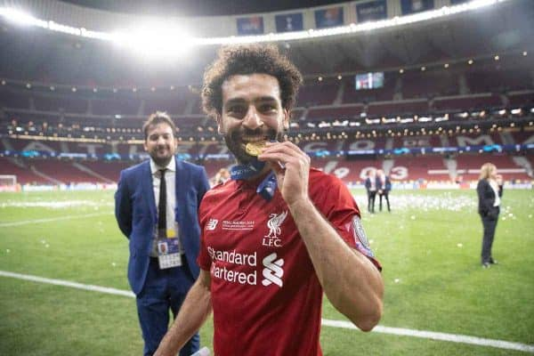 MADRID, SPAIN - SATURDAY, JUNE 1, 2019: Liverpool's Mohamed Salah celebrates by biting his medal after the UEFA Champions League Final match between Tottenham Hotspur FC and Liverpool FC at the Estadio Metropolitano. Liverpool won 2-0 to win their sixth European Cup. (Pic by Peter Makadi/Propaganda)