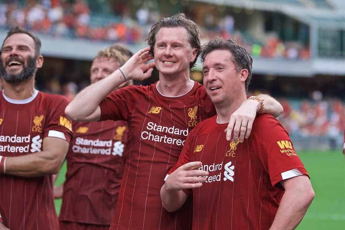 HONG KONG, CHINA - Saturday, June 8, 2019: Liverpool Legends' Steve McManaman (L) and Robbie Fowler after an exhibition match between Liverpool FC Legends and Borussia Dortmund Legends at the Hong Kong Stadium. (Pic by Jayne Russell/Propaganda)