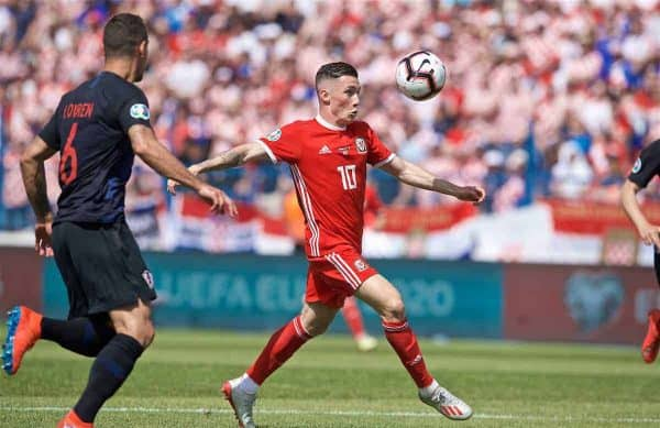 OSIJEK, CROATIA - Saturday, June 8, 2019: Wales' Harry Wilson shoots during the UEFA Euro 2020 Qualifying Group E match between Croatia and Wales at Stadion Gradski Vrt. (Pic by David Rawcliffe/Propaganda)