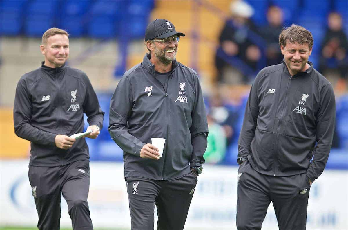 BIRKENHEAD, ENGLAND - Thursday, July 11, 2019: Liverpool's manager Jürgen Klopp (C) with first-team development coach Pepijn Lijnders (L) and assistant manager Peter Krawietz (R) before a pre-season friendly match between Tranmere Rovers FC and Liverpool FC at Prenton Park. (Pic by David Rawcliffe/Propaganda)