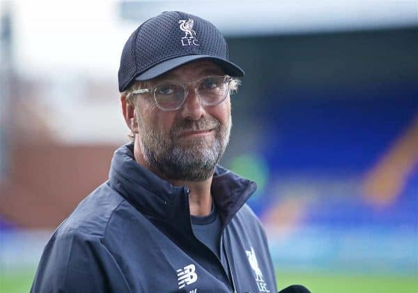 BIRKENHEAD, ENGLAND - Thursday, July 11, 2019: Liverpool's manager Jürgen Klopp before a pre-season friendly match between Tranmere Rovers FC and Liverpool FC at Prenton Park. (Pic by David Rawcliffe/Propaganda)