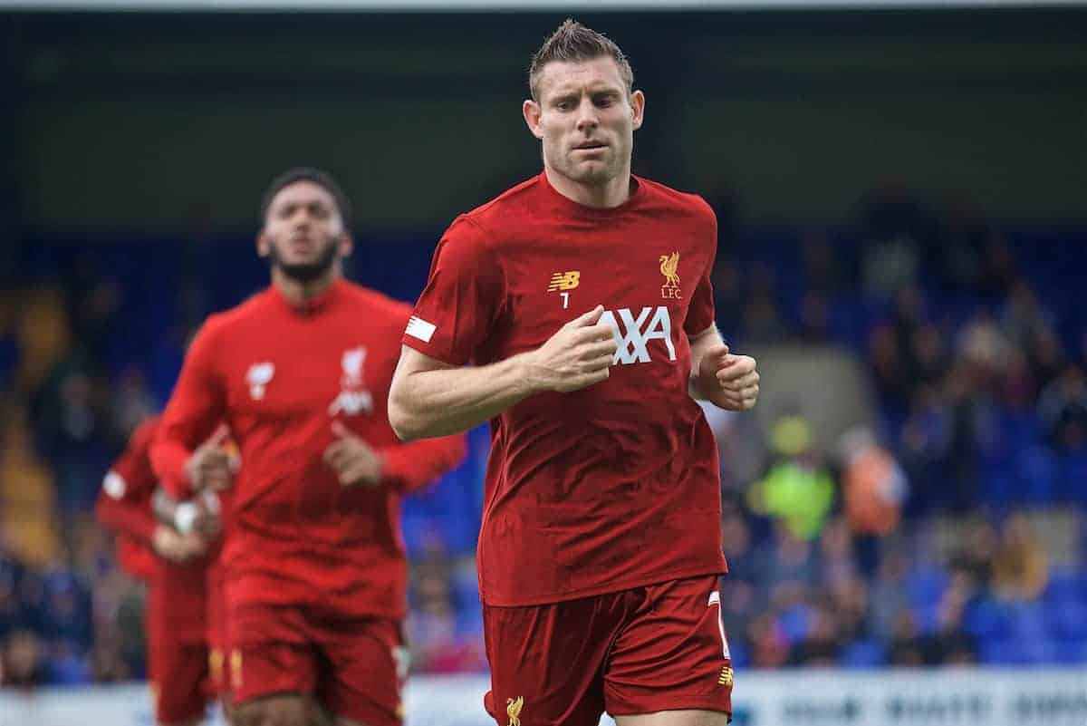 BIRKENHEAD, ENGLAND - Thursday, July 11, 2019: Liverpool's James Milner during the pre-match warm-up before a pre-season friendly match between Tranmere Rovers FC and Liverpool FC at Prenton Park. (Pic by David Rawcliffe/Propaganda)