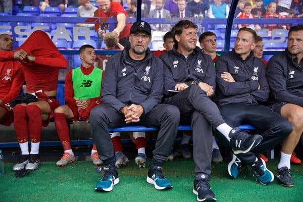 BIRKENHEAD, ENGLAND - Thursday, July 11, 2019: Liverpool's manager Jürgen Klopp (L) and assistant manager Peter Krawietz before a pre-season friendly match between Tranmere Rovers FC and Liverpool FC at Prenton Park. (Pic by David Rawcliffe/Propaganda)