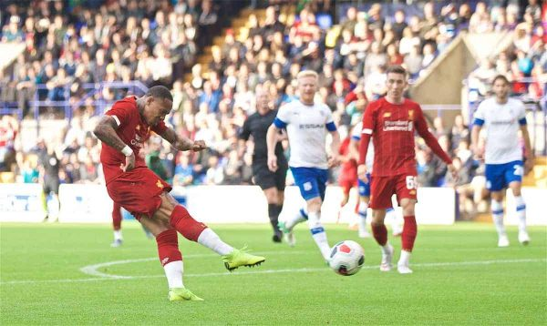 BIRKENHEAD, ENGLAND - Thursday, July 11, 2019: Liverpool's Nathaniel Clyne scores the second goal during a pre-season friendly match between Tranmere Rovers FC and Liverpool FC at Prenton Park. (Pic by David Rawcliffe/Propaganda)