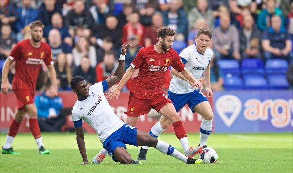 BIRKENHEAD, ENGLAND - Thursday, July 11, 2019: Liverpool's Adam Lallana during a pre-season friendly match between Tranmere Rovers FC and Liverpool FC at Prenton Park. (Pic by David Rawcliffe/Propaganda)