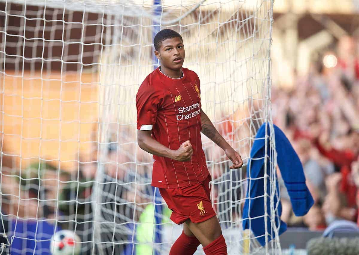BIRKENHEAD, ENGLAND - Thursday, July 11, 2019: Liverpool's Rhian Brewster celebrates scoring the third goal during a pre-season friendly match between Tranmere Rovers FC and Liverpool FC at Prenton Park. (Pic by David Rawcliffe/Propaganda)