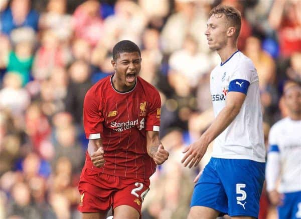 BIRKENHEAD, ENGLAND - Thursday, July 11, 2019: Liverpool's Rhian Brewster celebrates scoring the second goal during a pre-season friendly match between Tranmere Rovers FC and Liverpool FC at Prenton Park. (Pic by David Rawcliffe/Propaganda)