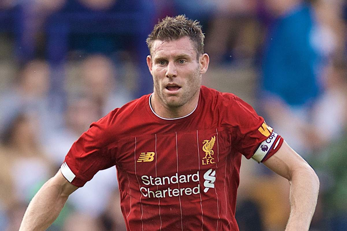 BIRKENHEAD, ENGLAND - Thursday, July 11, 2019: Liverpool's James Milner during a pre-season friendly match between Tranmere Rovers FC and Liverpool FC at Prenton Park. (Pic by David Rawcliffe/Propaganda)
