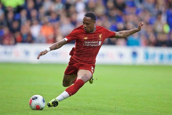 BIRKENHEAD, ENGLAND - Thursday, July 11, 2019: Liverpool's Nathaniel Clyne during a pre-season friendly match between Tranmere Rovers FC and Liverpool FC at Prenton Park. (Pic by David Rawcliffe/Propaganda)