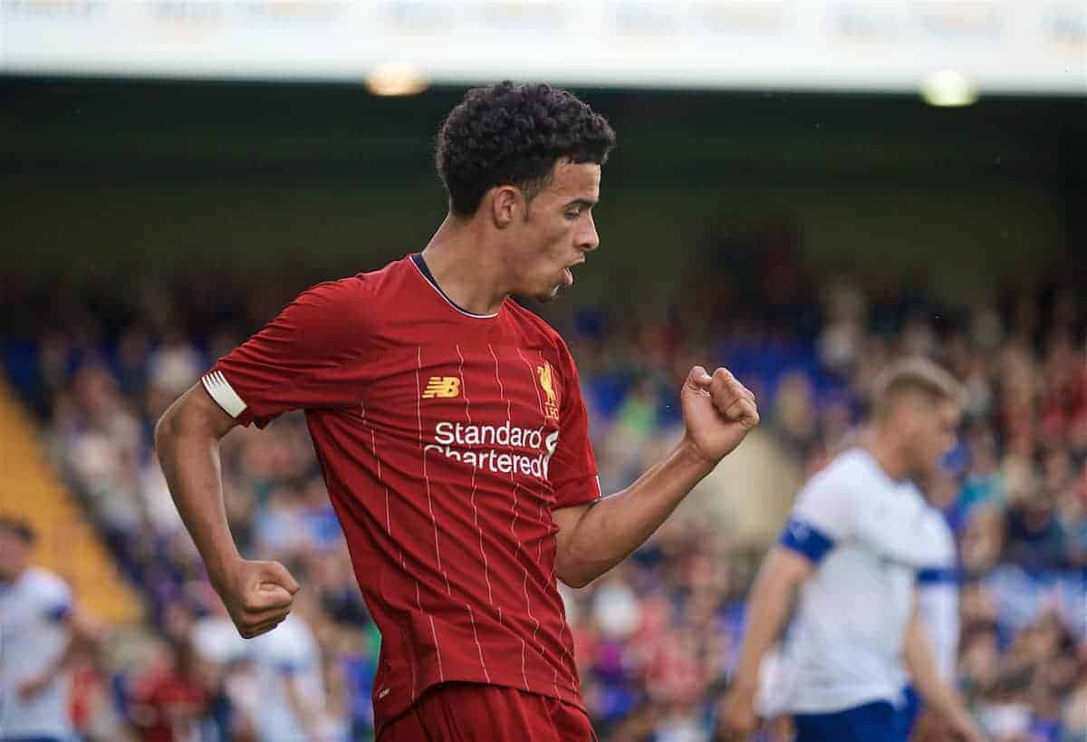 BIRKENHEAD, ENGLAND - Thursday, July 11, 2019: Liverpool's Curtis Jones celebrates scoring the fourth goal during a pre-season friendly match between Tranmere Rovers FC and Liverpool FC at Prenton Park. (Pic by David Rawcliffe/Propaganda)