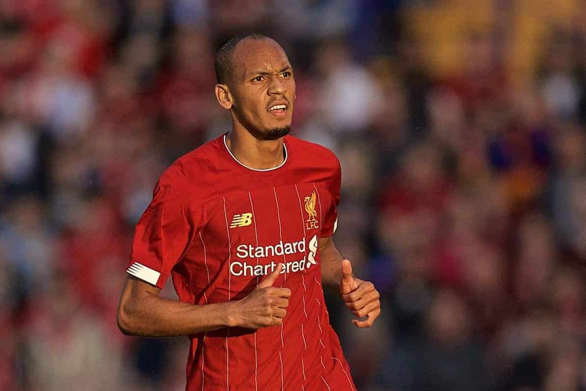 BIRKENHEAD, ENGLAND - Thursday, July 11, 2019: Liverpool's Fabio Henrique Tavares 'Fabinho' during a pre-season friendly match between Tranmere Rovers FC and Liverpool FC at Prenton Park. (Pic by David Rawcliffe/Propaganda)